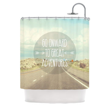 "Jillian Audrey ""Go Onward to Great Adventures"" Typography Shower Curtain"
