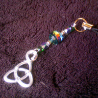 Blue Swirl Glass & Triquetra Phone / Purse  Charm