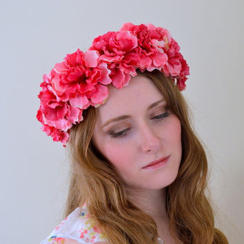 Floral crown flower crown rose crown garland headband wreath silk festival - 'Penelope'