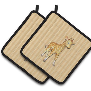 Giraffe Pair of Pot Holders BB7144PTHD