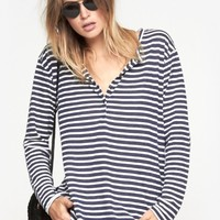 One Teaspoon Stripe Cash Linen Top in Navy And White | The Dreslyn