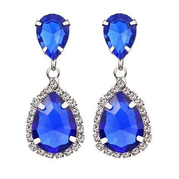Police Support Crystal Waterdrop Earrings