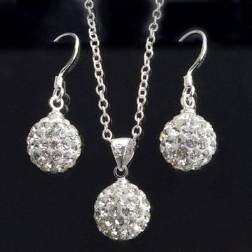 Women's Fashion White Crystal Ball Drop Earrings & Necklace Pendant Set  FREE SHIPPING!!!!