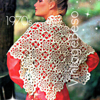 Ladies SHAWL CROCHET PATTERN Vintage 70s Evening Shawl Pattern Flower Motif Boho Pattern Bohemian Clothing - Pdf Pattern - Instant Download