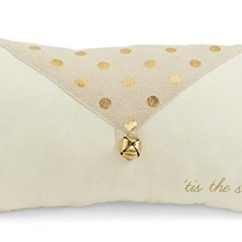 "Gold Metallic Polka Dot ""Tis the Season"" Rectangle Throw Pillow"