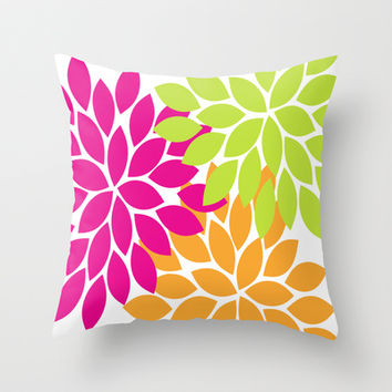 Bold Colorful Hot Pink Lime Orange Dahlia Flower Burst Petals Throw Pillow by TRM Design