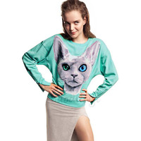 Women's Blue Eyes Cat Printed Cotton Pullover Shirt With Zipped Cuff
