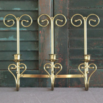 Adjustable brass candlestick holder wall decor, sconce, brass decor, wall decor, gold decor, Home Interiors & Gifts.
