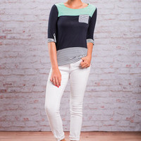 Pocket Stripes Top, Mint