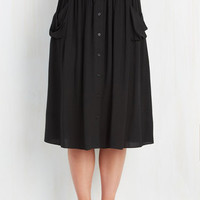 Urban Long Midi Just Dandy Skirt in Black