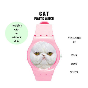 Cat watch,watch,plastic watch,cat,cat lover,animal,wrist watch,cute watch,cute,gift,birthday gift,hipster,accessories,colorful,kawaii,gift,6
