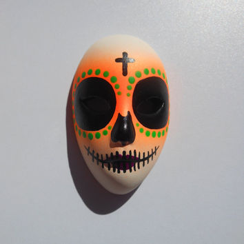 Halloween / Day of the Dead Dia de los Muertos Calavera medium Sugar Skull Hand-painted porcelain mask Neon Orange, Green and Purple