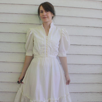 White Prairie Dress 70s Country Western Vintage XS Summer Jerri Jee Gunne Sax Style