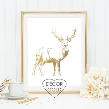 deer foil print art gold foil gold office decor gold home decor typography art print wall art nursery fawn gold art print wall decor antlers