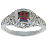 Black Opal & Diamond Round Ring .925 Sterling Silver