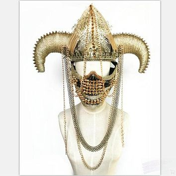 Buffalo Horn Mask with Chain Headpiece