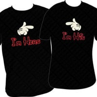 I'm Hers I'm His Mickey Disney Couple T-Shirts - Red & Red Glitter Vinyl