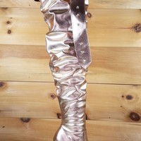 CR Rose Gold Belted Slouchy Shaft Pointy Toe OTK Thigh Boot High Heel