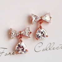 Dangling Bow and Heart Full Rhinestone Earrings - LilyFair Jewelry