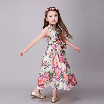 2017 Fashion Girls Summer Bohemian Dress Elegant Teenager Dress Flower Print Children Costume Kids Natural Chiffon Beach Dress