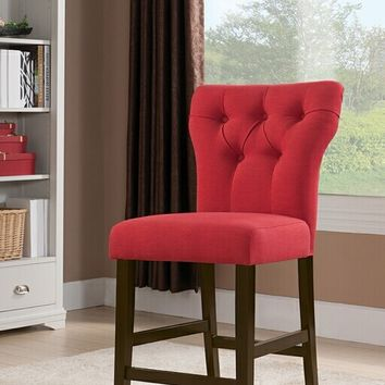 Acme 71525 Set of 2 Effie walnut finish wood red linen upholstered counter height dining chairs