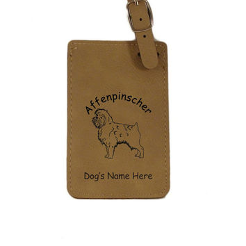 L1015 Affenpinscher Standing Personalized Luggage Tag
