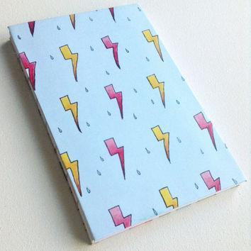 Lightning storm rain weather pink and yellow blue blank 80 page journal 5.5X8.5