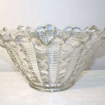 Clear Pressed Glass Fruit Bowl, Serving Dish