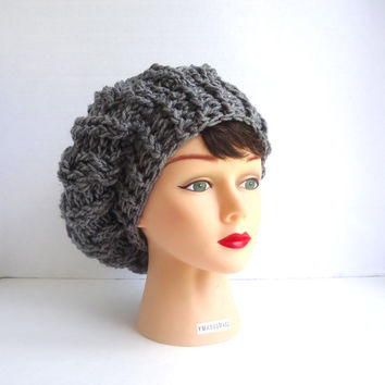 Crochet Slouchy Hat - Grey Slouchy Hat - Mens Slouchy Hat - Womens Hat Trendy - Grey Beanie - Grey Hat - Fall Hat - Ready To Ship