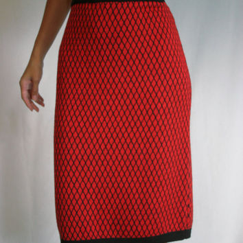 Vintage 80s Adorable geometric wool pencil skirt  High waisted