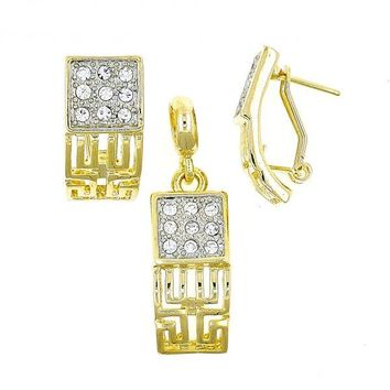 Gold Layered 10.59.0067 Earring and Pendant Adult Set, Greek Key Design, with White Crystal, Polished Finish, Two Tone