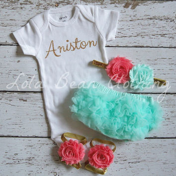 Baby Girl Take Home Outfit Newborn Custom Onesuit Bloomers Headband Sandals Set Mint Bloomers Mint Coral Gold Headband