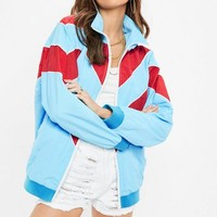 Missguided - Blue Colour Block Wind Breaker Jacket