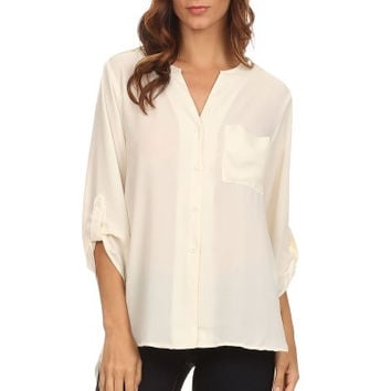 All In A Day's Work Pocket Blouse