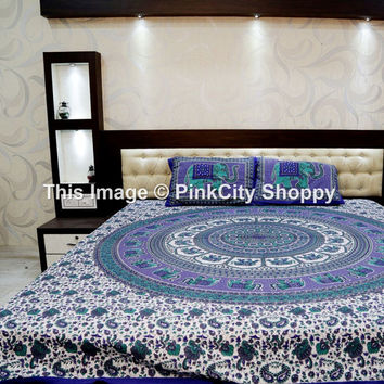 Elephant Round Mandala tapestries Wall Hanging Bohemian Tapestries Indian Mandala Tapestries Boho Tapestries Indian Bedspread With Pillow