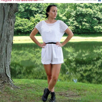 20% OFF SALE 1980's White Starfish Mesh Romper. Cotton and Mesh Net Playsuit. Pockets. Hipster. Medium M