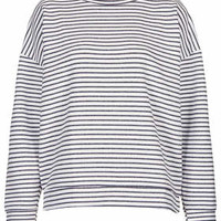 Stripe Ribbed Sweat by Boutique - Cream