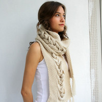 Free SHIPPING Beige Wool Special Design By DenizGunes Knit  Scarf Perfect Gift Under 75 For Women For Girl Friend Christmas Gift