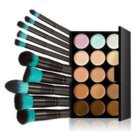 Sanwony New 10pcs Foundation Brush Makeup Brushes Professional Makeup Brush Set+15 Colors Concealer