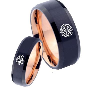 His Hers Fire Departments Bevel Tungsten Rose Gold Band Ring Set