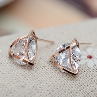Diamond in Triangle Rhinestone Earrings - LilyFair Jewelry