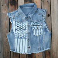 4th of July - Southern Girl - Super Cute!! Stars and Stripes Denim Jean Vest with metal studs - Patriotic Pride