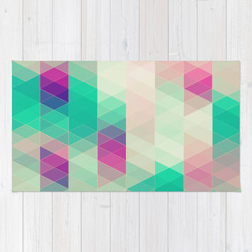 retro triangles Rug by Sylvia Cook Photography