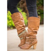 Hot Deal On Sale Rhinestone Knee-length High Heel Shoes Round-toe Boots [120848416793]