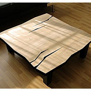 MSTRF / AD Smooth Series - 30 x 30 Modern Abstract COFFEE Table with Natural Lacquer Finish and Solid Wood Tapered Legs