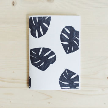 A5 Hand Screenprinted Notebook with Tropical Print in Black and White, Leaves