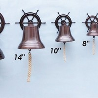 Antiqued Copper Hanging Ship Wheel Bells Wall Decor