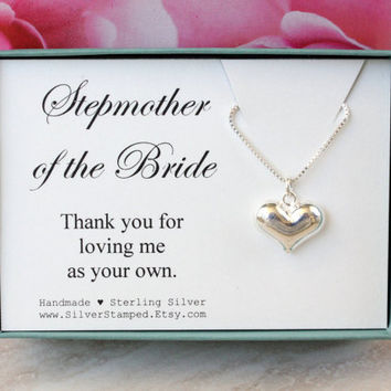 Wedding Gift For Dad And Stepmom : gift sterling silver necklace Thank you gift for stepmomWedding ...
