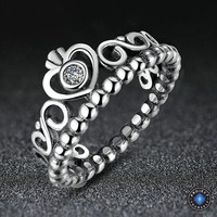 925 Sterling Silver My Princess Heart Crown Ring
