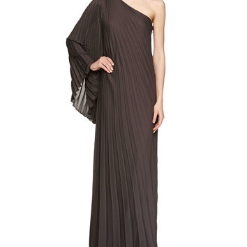 Women's One-Sleeve Pleated Gown - Halston - Charcoal
